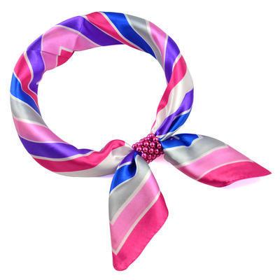 Šátek s bižuterií Letuška - růžovomodrý pruhovaný - 1