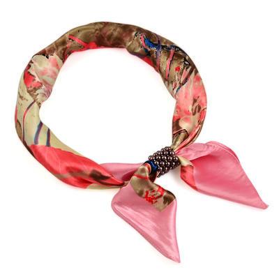 Šátek s bižuterií Letuška Light - růžový s potiskem - 1