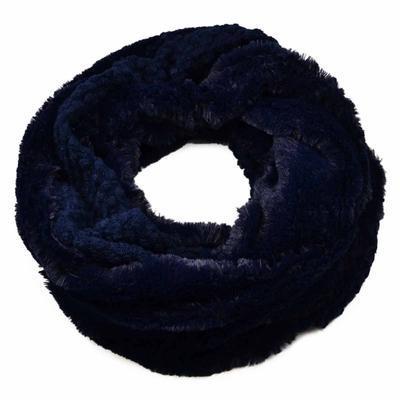 Tunelová kožešinová šála 69tz001-30f - modrá - 1