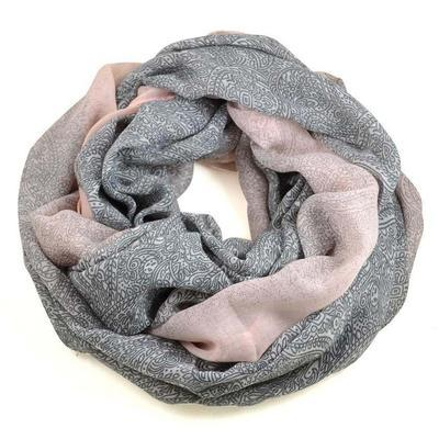Snood 69tu010-71.23 - rose and grey, paisley - 1