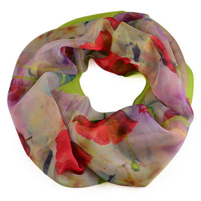 Summer snood 69tl004-20.30a - red with blue flowers - 1