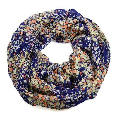 Summer infinity scarf 69tl004-30.14 - blue with small flowers - 1