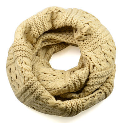 Tunelová pletená šála 69tz001-14e - béžová - 1