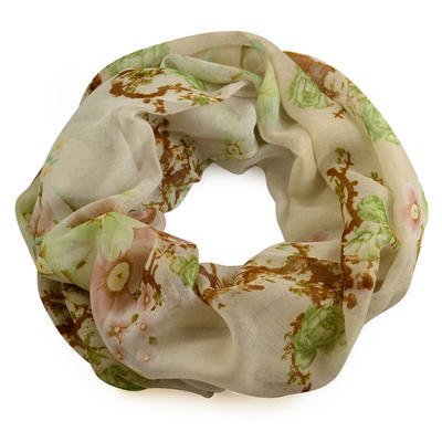 Snood 69tu004-53.20 -  red and green with flowers - 1