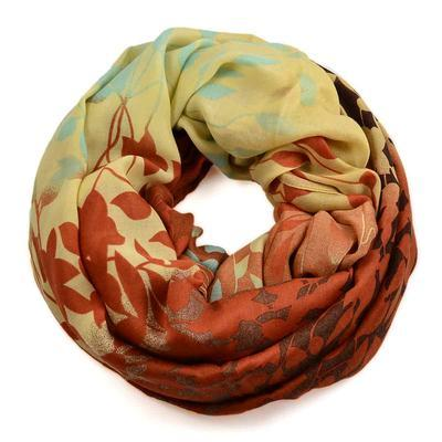 Snood 69tu009-32.10 - turquoise and yellow, mixed print - 1
