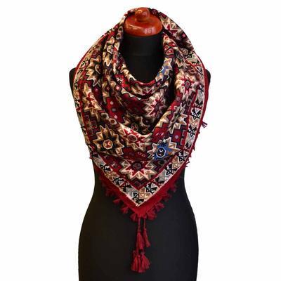 Velký šátek 69pl006-22.02 - červený s geometrickým vzorem - 1