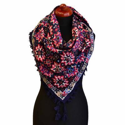 Velký šátek 69pl006-36.20 - modročervený s geometrickým vzorem - 1