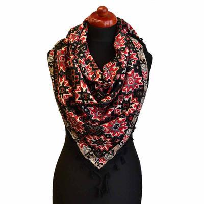 Velký šátek 69pl006-70.20 - černočervený s geometrickým vzorem - 1
