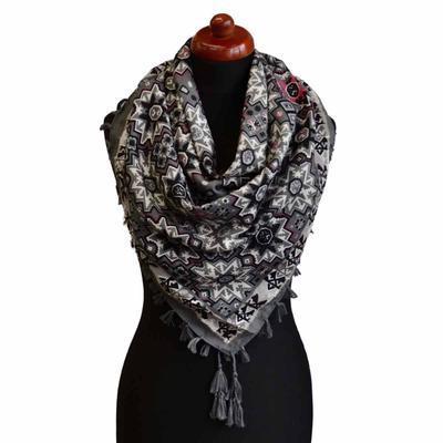 Velký šátek 69pl006-71.25 - šedý s geometrickým vzorem - 1