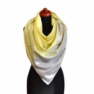 Velký šátek - žlutá lesklá kostka - 1