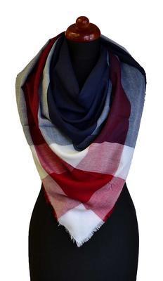Velký šátek 69pl013-30.20 - modročervená kostka - 1