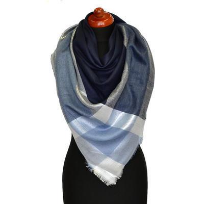 Velký šátek - modrá lesklá kostka - 1