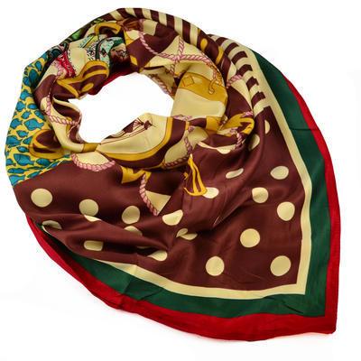 Velký čtvercový šátek - hnědý - 1