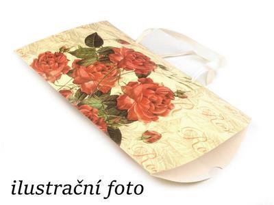 Dárková krabička béžová s červenými květinami - 2