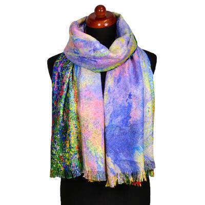 Maxi šála oboustranná - barevno-fialová s potiskem - 2