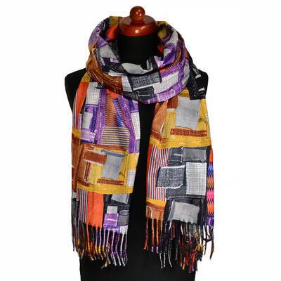 Maxi šála oboustranná - šedo-oranžová/barevná s potiskem - 2