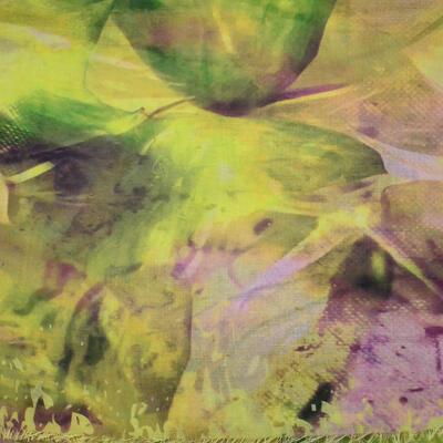 Velký šátek - žluto-fialový s potiskem - 2