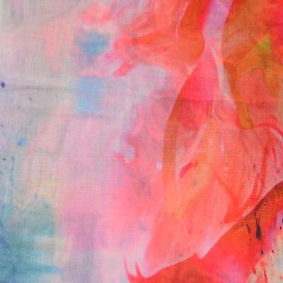 Velký šátek - oranžovo-modrý s potiskem - 2