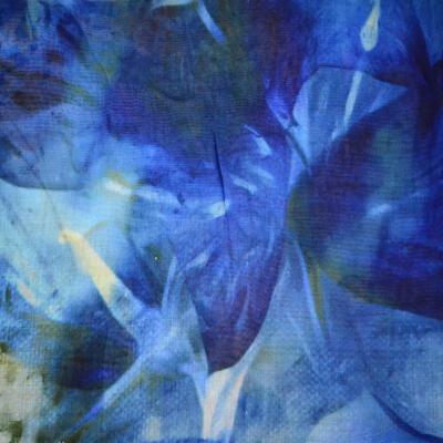 Velký šátek - modrý s potiskem - 2