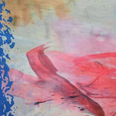 Velký šátek - modro-růžový s potiskem - 2