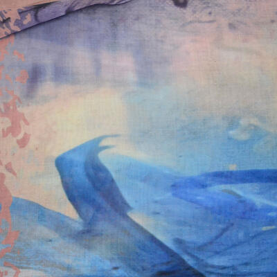 Velký šátek - hnědo-modrý s potiskem - 2