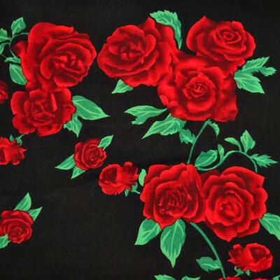 Velký šátek - černo-červený s potiskem - 2