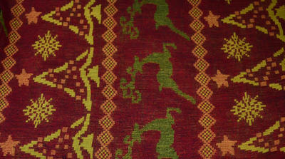 Šála kašmírová - červenozelená norský vzor - 2