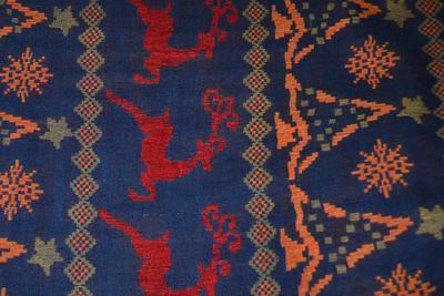 Šála kašmírová - fialovočervená norský vzor - 2