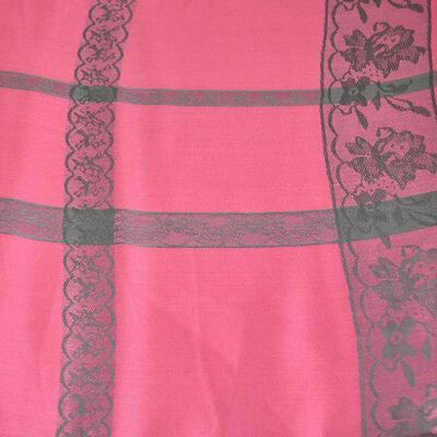 Šála kašmírová klasická - růžová s krajkovým potiskem - 2
