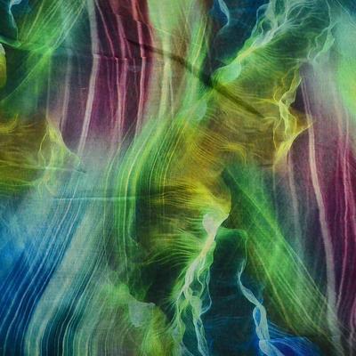 Šála klasická - zeleno-modrá s potiskem - 2