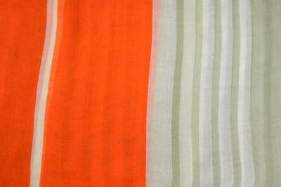 Šála klasická - oranžovo-zelená s pruhy - 2