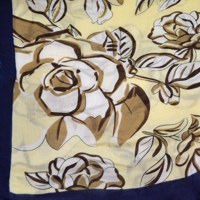 Classic women's scarf - yellow and blue - 2
