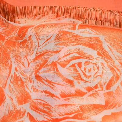 Šála klasická - oranžová s potiskem - 2