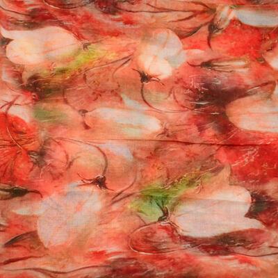 Šála klasická - oranžová s květy - 2
