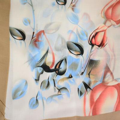 Šála klasická - béžovo-modrá s potiskem - 2