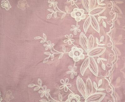 Šála klasická - růžová s vyšitými květy - 2
