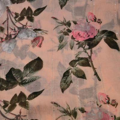 Šála klasická - růžová s květy - 2