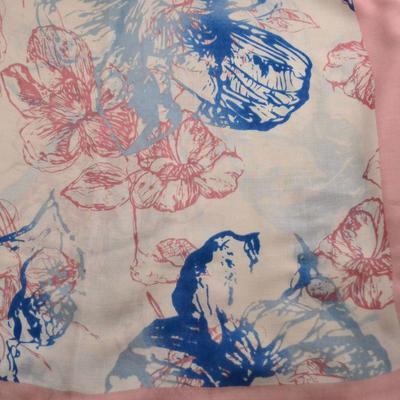 Šála klasická - růžovomodrá s potiskem - 2