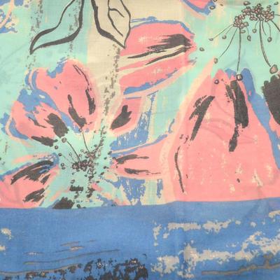 Šála klasická - modro-zelená s potiskem - 2