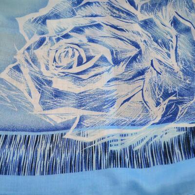Šála klasická - modro-šedá s potiskem - 2
