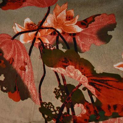 Šála klasická - hnědooranžová s velkými květy - 2