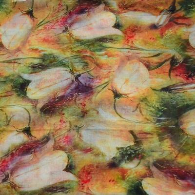 Šála klasická - hnědo-zelená s květy - 2
