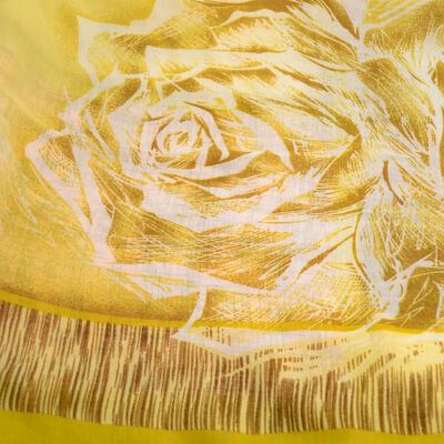 Šála klasická - hnědo-zlatá s potiskem - 2