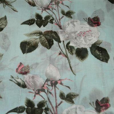 Šála klasická - mentolová s květy - 2
