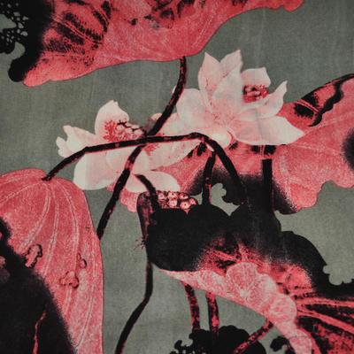 Šála klasická - šedorůžová s velkými květy - 2