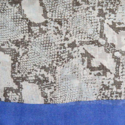 Šála klasická - béžovo-modrá hadí kůže - 2