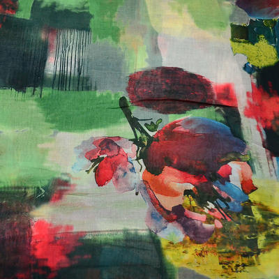 Šála klasická - zeleno-červená s potiskem - 2