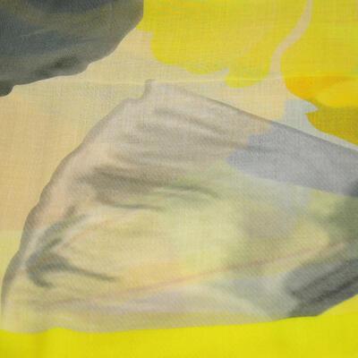 Šála klasická - žluto-šedá s potiskem - 2