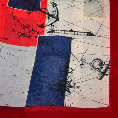 Šála klasická - červeno-bílá s potiskem - 2