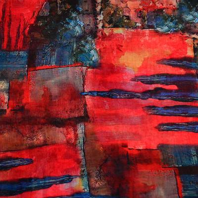 Šála klasická - červeno-modrá s potiskem - 2